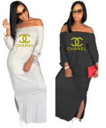2019 bolsas de regalo de tela de encaje Mujeres doradas carta vestidos de hombro manga larga falda larga diseñador de la marca ropa de otoño moda dividida vestido suelto envío gratis 841