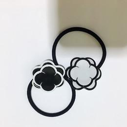 2019 головной убор 4X4 СМ черно-белый акриловый стиль C Двойной цветок кольцо для волос резинкой заколки для волос головной убор Счетчик подарок 4 шт. / Лот дешево головной убор