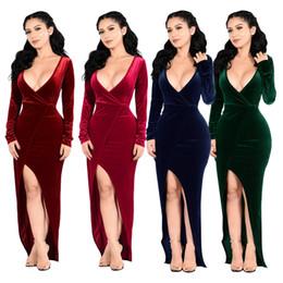 maxi vestidos de manga larga de terciopelo Rebajas Vestido de banquete de manga larga con adelgazamiento de gran tamaño y alta talla sexy de gran tamaño de Navidad, vestido de manga larga 9082