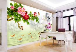 telefono 3d cinese Sconti Telefono 3d Wallpaper Casa e ricco Nove pesci Figura cinese 3D soggiorno camera da letto sfondo Decorazione murale Carta da parati