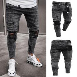 Mens jeans cerniere ginocchia online-Jeans uomo Snow Grey Spark Draped Washed Long Pencil Pants Ginocchia elastiche per jeans con cerniera