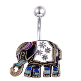 Personalisierte tasten online-Weinlese-Elefant-niedlicher kleiner Nabel-Bauchnabel schellt Stahlbauchstangen-personalisierten piercing Schmuck