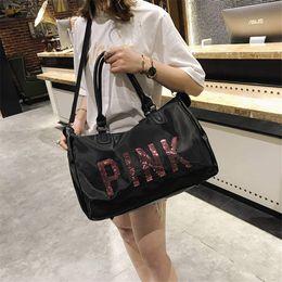2019 женские сумочки из ткани PINK дизайн блестки фитнес сумка водонепроницаемая ткань Оксфорд дорожная сумка женская сумка спортивная сумка большой емкости вещмешок дешево женские сумочки из ткани