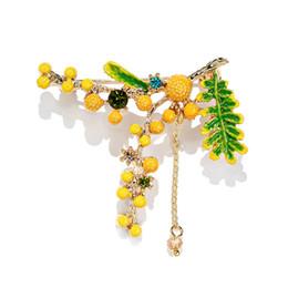Accesorios hijab fiesta online-Nueva joyería colorida esmalte planta Hijab Pins chica cuello Pin broche para las mujeres del partido del bolso vestido de accesorios