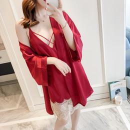 4df2f776f Primavera E Verão Sexy Lace Robe Twinset Robe De Seda De Gelo Pijama De  Moda Pijama Para As Mulheres acessível camisolas de seda