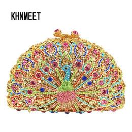 Borsa da sera di cristallo animale di lusso Peacock Diamond Party borsa Pochette Soiree donne catena borse da sposa borsa da giorno frizioni Y19051702 da