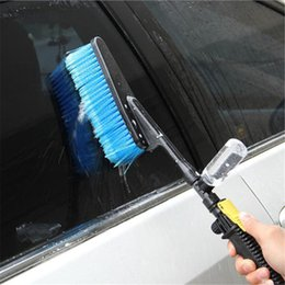Botella de espuma azul online-Blue Car Wash cepillo automático exterior retráctil mango largo del flujo de agua de la botella Interruptor de espuma de limpieza de coches cepillo