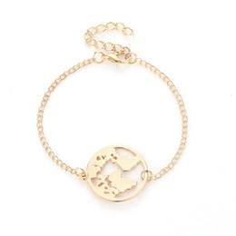 14k goldcharme armband Rabatt Weltkarte Armbänder Mode Armreifen Schmuck Gold Silber Farbe Globe Earth Charm Armband Frauen Reisen Schmuck Geschenk