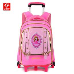 Rodas de sacos escolares on-line-Removível Mochila Mochila Para Meninas Com Rodas Trolley Sacos De Escola roda Kid Bagagem De Rodas De Viagem Drag puxar Saco de Livro