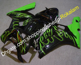 2019 ninja 636 parti Carene per Kawasaki Ninja ZX 6R Parts 03 04 ZX6R 636 2003 2004 Green Flame Black Kit carenatura per motocicli (stampaggio a iniezione)