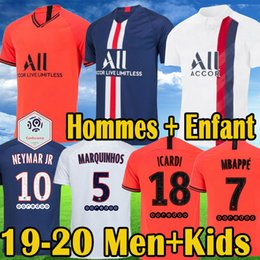 calcio jersey arancione Sconti maillot Kids psg Nero white maillot 2019 2020 NEYMAR JR MBAPPE PSG Thrid Soccer maglie maillot equipe de CAVANI MARQUINHOS DRAXLER 19 20 Paris Kits