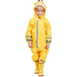 Gelbe regenmantel kinder online-Kocotree Kinder Gelb Giraffe Regenmantel Kinder Overall Regenbekleidung Regenschutz Für Jungen Mädchen Wasserdichte Kleidung Sets Kinder J190511