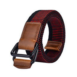 wholesale leather cowboy belts Promo Codes - Unisex canvas stripe belt high quality Alloy Double ring buckle Men belt casual sport cowboy pants Men and Women
