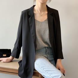 466fdc278bd Chaqueta larga de gasa Mujeres para el verano Solo botón Vintage Streetwear  Abrigos casuales con muesca Estilo coreano Delgado Negro Blazer negro