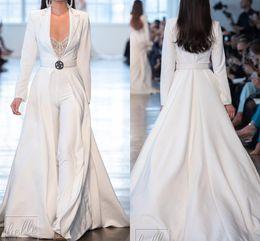 Abiti bianchi online-Berta bianchi Prom Dresses tute Long Sleeve raso lungo giacche da sera Plus Size abiti de soirée Pantalone Tute Party Dress