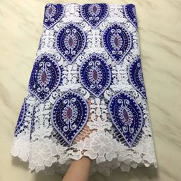 5Yards pc Fashionable white african milk silk lace and royal blue velvet fabric with rhinestone for dress BM18-5