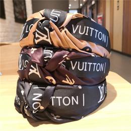 Fita afiada on-line-Ladies Wide-Edged Letters Imprimir tecido atado Bow Headband High end-Tecido clássico Checkered Cabelo Fita Clipe Moda Acessórios do cabelo