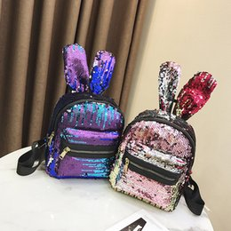 bunny backpacks Promo Codes - Student Cartoon Bunny Backpack Back To School Kids Bunny Ear Sequin Backpack Girl Zipper Three-Layer Color Mini Backpack