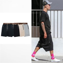 stage shorts Promo Codes - streetwear hip hop dance clothes stage for men black grey khaki short mens stretch cotton fear of god sweat jogger shorts