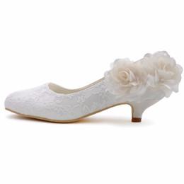 Argentina Zapatos de boda de mujer Tacón bajo EP2130 Tamaño de marfil 41 Punta redonda Damas de encaje cómodas Novia Dama de honor Fiesta de baile Bombas de novia Suministro