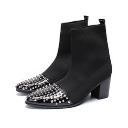 777efbfc416 botas de tacón de plata Rebajas Lana de moda Tela elástica Botas para  hombre negras Remaches
