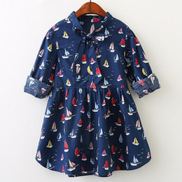 Barco hermoso online-Spring New Kids Dress Trade Color Sailing Boat Impreso Bow Vestidos de manga larga Casual Cartoon Kids Beautiful Princess Dresses