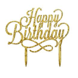 torta di compleanno glitter Sconti Buon compleanno acrilico Cake Topper Decorating Forniture per bambini Torte Glitter Decor Cake Stand Topper Puntelli del partito QW9704