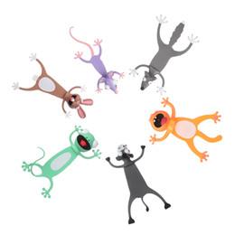 marcadores 3d Rebajas Estéreo 1PC animal de la historieta del estilo 3D Material PVC Marcadores Marcadores libro Estudiante Forma regalos animales del marcador de lectura de escritorio