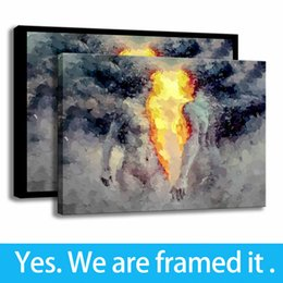 oil paintings art print canvas frame Coupons - HD Print Abstract Oil Painting Twin Flame Wall Art Porch Decor Canvas Framed Art - Ready To Hang - Support Customization