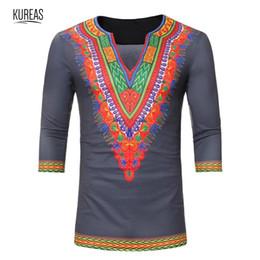 2019 chemisier tribal Kureas Dashiki T-Shirt Hommes Africain Imprimé Blouse Tops Chemises Plus La Taille Tribal Graphique Tees D'été Tshirt Manches Trois promotion chemisier tribal