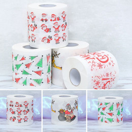toilet tissue paper roll Promo Codes - 1Roll Santa Claus Deer Merry Christmas Supplies Printed Toilet Paper Home Bath Living Room Toilet Paper Tissue Roll Xmas