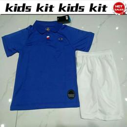 Versão dois on-line-Dois estrelas Crianças futebol Jersey 100 Anniversary version home Camisas De Futebol # 7 GRIEZMANN # 10 MBAPPE Criança Camisas De Futebol uniforme jersey + shorts