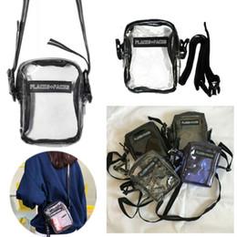 Borse messenger mini per gli uomini online-LUOGHI plus facce in PVC trasparente libero impermeabile Crossbody sacchetto laterale della spalla P + F donna degli uomini di viaggio Sport Skateboard Messenger Bags