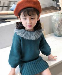 cabbaeb438bd Kids knitting outfits 2019 new girls lace falbala lapel knitting long  sleeve pullover+V-neck Vertical stripes vest dress 2pcs sets A01430