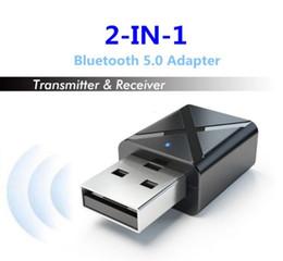 2019 adaptador de coche de alto voltaje KN320 BT 5.0 Mini USB Receptor de audio Transmisor inalámbrico Adaptador con estéreo AUX 3,5 mm para TV PC Coche