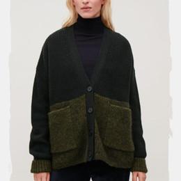 Las mujeres sueltan la lana verde y Mohair Vintage Cardigan suéter otoño  invierno manga larga con cuello en V doble bolsillos abrigo de gran tamaño  rebajas ... c3e850e64938