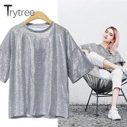 2019 brillar camiseta de moda Trytree Summer Shining Women T Shirt Casual poliéster camiseta Moda O-cuello Pink Silver Tops Ropa Solid Polyester ShirtsY19042002 brillar camiseta de moda baratos