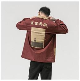 2019 chinesische herren-mode-jacke Chinesische Schriftzeichen gedruckt Herren Jacke Designer Held Buchstabe gedruckten Freizeitjacke Mode Plus Size Herrenkleidung günstig chinesische herren-mode-jacke