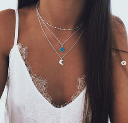 Beliebte schmucksets online-Halskette Set Anhänger Frau Schmuck Mode Gold Silber Mond Stern Strand Sommer Großhandel Party Beliebte Feder