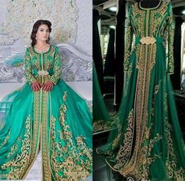 2019 mode design dubai 2019 Emerald Green Muslim Abendkleider mit langen Ärmeln Abaya Designs Dubai türkischen Prom Abend Party Kleider Günstige marokkanischen Kaftan günstig mode design dubai