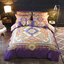 bedding sets cotton pattern Promo Codes - Baroque Flower Geometric Pattern Bedding Set Queen King Size Duvet Cover Bed Sheets Pillowcase Cotton Printed Home Textiles