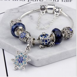 19-20 cm pan jia blu stella braccialetto di natale fiocco di neve zucca pendente auto braccialetto perline di vetro fai da te ornamenti di perline gioielli da sposa fai da te cheap beaded snowflake beads da perline di fiocco di perline fornitori