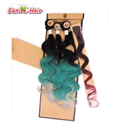 2019 lindo cabelo tece Bela sintética Weave do cabelo do arco-íris da onda do corpo sintético tranças Ombre 3pcs Weaving + 1pcs Encerramento + 1pcs Clip-In desconto lindo cabelo tece