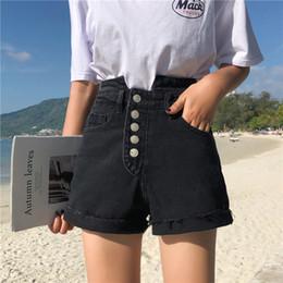 1a20f7221 2019 xl shorts de mezclilla cintura alta S-XL 2 colores de cintura alta  pantalones