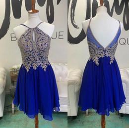 Appliques de perles de paillettes argent en Ligne-2019 bleu royal Mini-robes de bal courtes de rentrée argentées en dentelle avec des sequins sur le dessus de la jupe gonflée Cocktail des robes de soirée Habillées des robes de bal arabesques