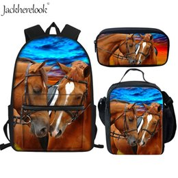 2019 mochilas de niña para leopardo escolar Jackherelook Crazy Horse Animal Leopard School Bags Set 3Pcs Mochilas escolares para niños Niñas Niño Mochila de lona Lienzo mochilas de niña para leopardo escolar baratos