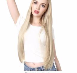 """Длинный черный парик толщиной онлайн-мода 28"""" 70 см длинные прямые блондинка U часть половина парик для черно-белых женщин синтетические парики толстые клипы Uw02"""