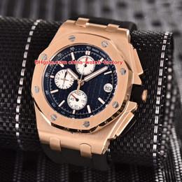 2019 розовая кварцевая лента 5 Стиль Topselling Высококачественные часы 44mm Offshore 26568OM.OO.A004CA.01 18-каратного розового золота резиновые полосы Кварцевый хронограф Workin Мужские часы скидка розовая кварцевая лента