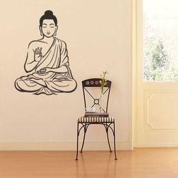 2019 stickers d'art murales bouddha Stickers muraux Sticker décalque bouddhisme hindou Art de la maison de yoga amovible stickers d'art murales bouddha pas cher