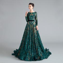 bescheidene hochzeiten kleider ärmel Rabatt MG001 Pailletten Lace Teal Abendkleid Baetau Neck Langarm bescheidenen Mutter der Braut Kleider mit Zug Abendkleider für Hochzeiten